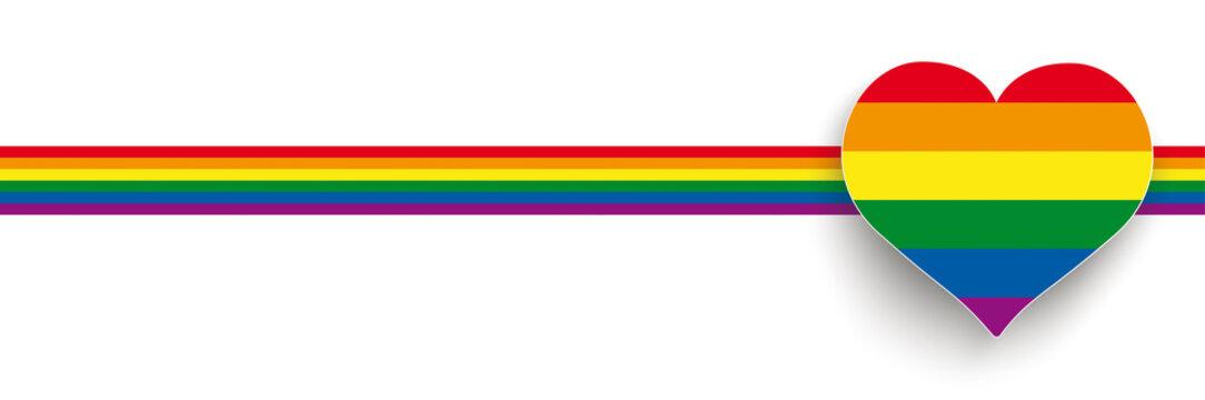 White Big Heart Rainbow Stripes Header 2