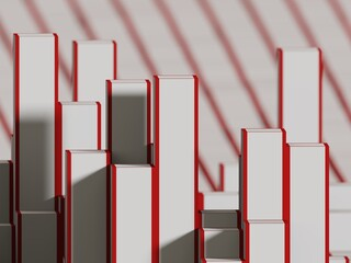 abstract voxels white and red strips background computer generated illustration