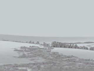 voxels landcape computer generated illustration