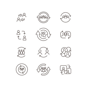 Person updating profile. Synchronize team work. Refresh team. People with arrow reload for reorganization group. Personal change line icon set. Vector illustration.Design on white background. EPS 10