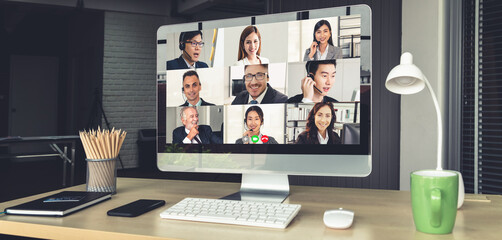 Fototapeta Video call business people meeting on virtual workplace or remote office. Telework conference call using smart video technology to communicate colleague in professional corporate business. obraz