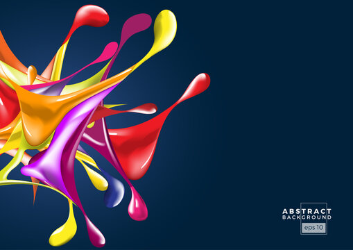 Splashes of ink with colorful drops in abstract shape on dark background