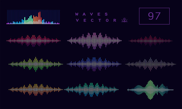 Multicolor sound waves. Abstract music wave, radio signal frequency and digital voice visualisation. Tune equalizer vector set. Сolor volume audio lines, soundwaves rhythm isolated on dark background