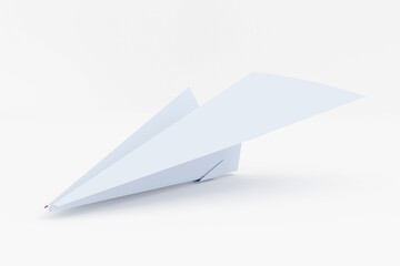 paper plane on white background - business concept free to move forward, 3d render, 3d illustration