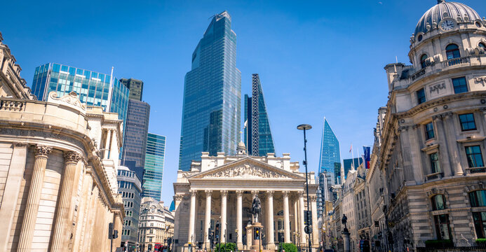 LONDON- City of London and Bank of England / Royal Exchange in the City of London.