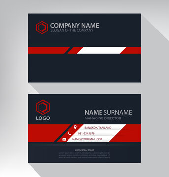 Luxury and modern. vector business card template. design black red white
