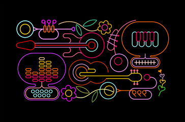 Neon colors isolated on a black background Music and Flowers vector illustration.