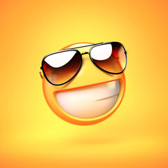 Cool emoji isolated on yellow background, smiling emoticon with sunglasses 3d rendering