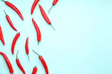 Aluminium Prints Hot chili peppers Hot chili pepper on color background
