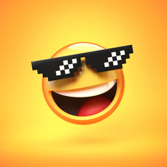"""""""Deal with it"""" emoji isolated on white background, emoticon with pixelated sunglasses 3d rendering"""