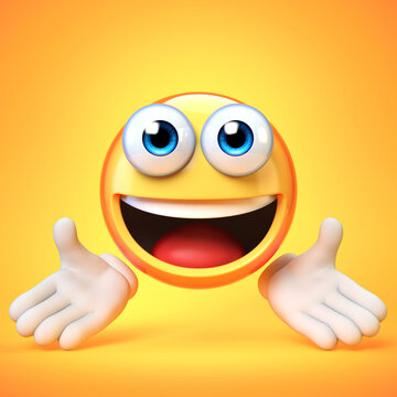 Presenting emoji isolated on white background, greeting emoticon 3d rendering