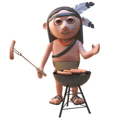 3d cartoon Native American character cooking sausages on a bbq barbecue