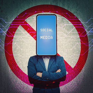 Social media censorship, political war between US president banning social networks. Incognito smartphone headed person with forbidden sign behind his back. Internet communication risk concept.