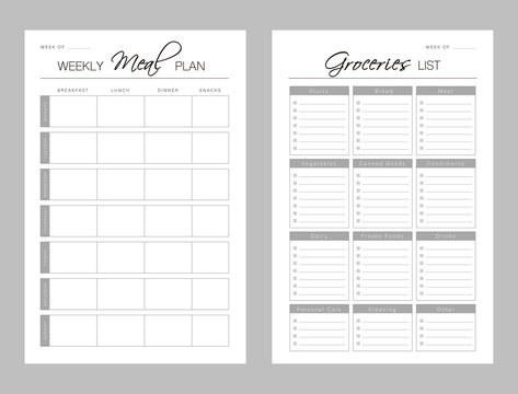 Weekly Meal Planner printable template Vector. Meal planning andgrocerieslist. Easily plan out of your weekly meals for breakfast, lunch, dinner and snacks. Simple Clear Vector illustration design.