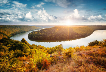 Wall Mural - Exotic view of the river flowing through hills. Location Dniestr canyon, Ukraine, Europe.