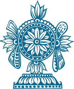 Sketch of Lord Venkateshwara or Balaji Sign and Symbols Outline Editable Vector Illustration