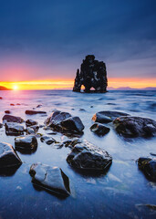 Wall Mural - Awesome dark sand after the tide. Location place famous Hvitserkur, Vatnsnes peninsula, Iceland, Europe.