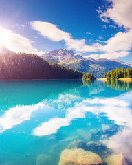 Wall Mural - sunny day on the lake