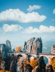 Wall Mural - Great view of Elbe Sandstone Mountains. Location place Saxon Switzerland national park, East Germany, Europe.