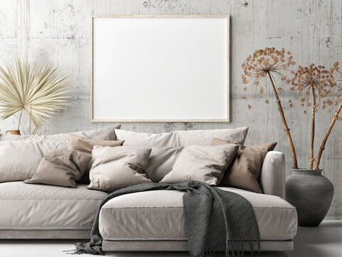 Mockup poster, Scandinavian Living Room, Comfortable Sofa with pants, 3d render, 3d illustration