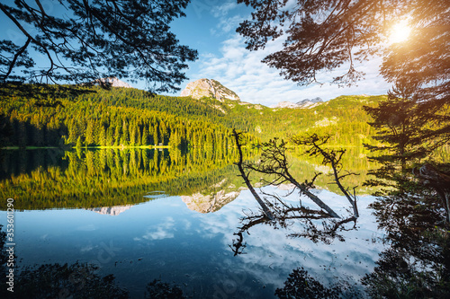 Wall mural Picturesque view of Black lake. Location place National park Durmitor, Montenegro, Balkans, Europe.