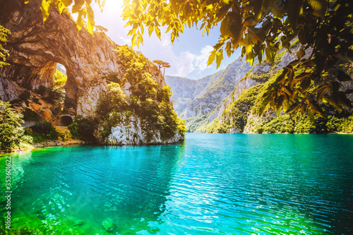 Wall mural Top view on the great canyon of river Piva. Location place National park Durmitor, Montenegro, Balkans, Europe.