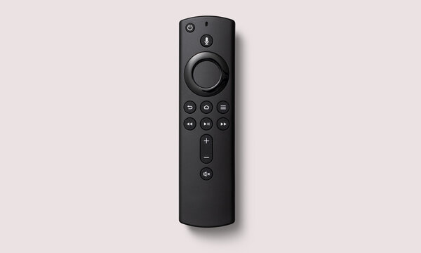 Black smart remote control on a white background