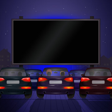 illustration of drive-in cars