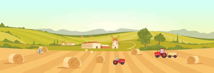 Farmland flat color vector illustration. Village 2D cartoon landscape with green hills on background. Harvesting season. Farmers collecting ripe crops. Italian farm with windmills and tractors