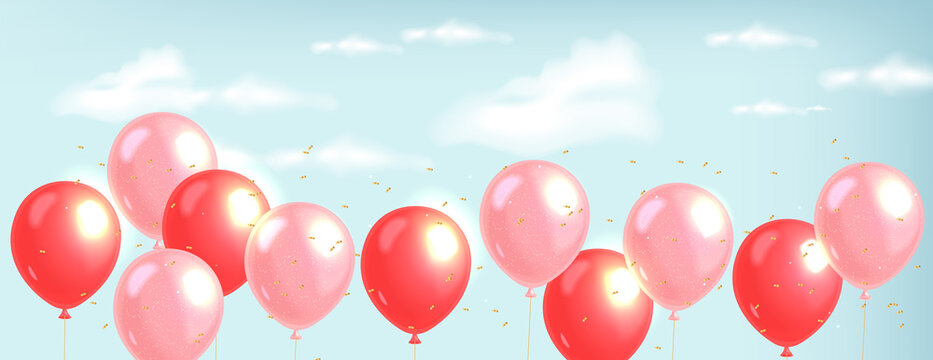 Realistic balloons and gold confetti, blue background, clear sky, realistic clouds love decoration, valentines day, romantic card vector