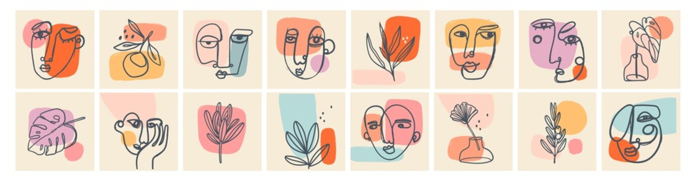 Big Set of Various Faces, Leaves, Flowers, abstract shapes. Ink painting style. Contemporary Hand drawn Vector illustrations. Continuous line, minimalistic elegant concept. All elements are isolated