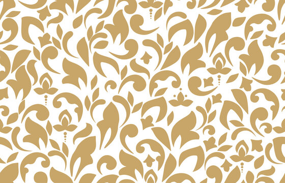 Vector beautiful damask pattern. Royal pattern with floral ornament. Seamless wallpaper with a damask pattern.