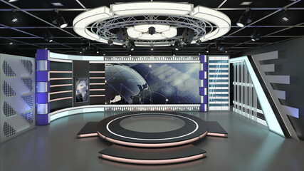 Virtual TV Studio News Set 6. 3d Rendering. This background was created in high resolution with 3ds Max-Vray software. You can use it in your virtual studios.