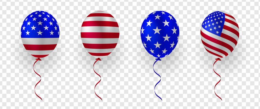 Set of balloon with USA flag vector decorative elements