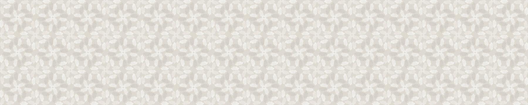 Seamless border damask pattern. Neutral cream flower blooms banner background. Elegant minimal off white beige linen texture.  Stylish ribbon trim
