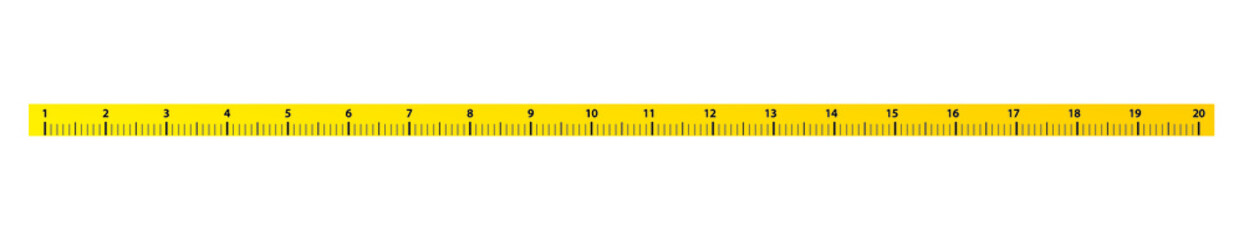 20 inches measure tape with yellow and black color. Real size vector illustration.