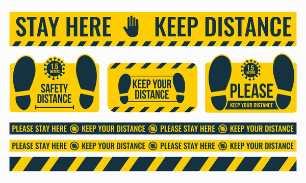 Social Distancing. Please Keep Your Distance. Safe distance. Place the yellow floor sticker at a distance from the floor. Marking tape where there are a lot of people. Vector image.