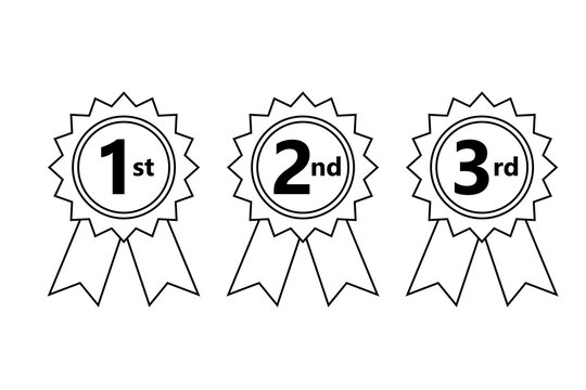 1st 2nd 3rd place ribbon outline icon. Clipart image isolated on white background