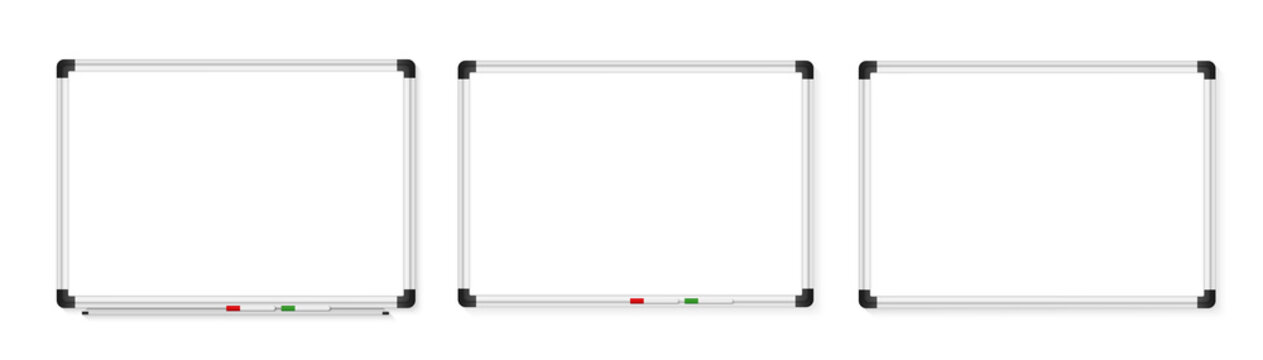 Empty white marker board on white background. Realistic office Whiteboard. Vector illustration