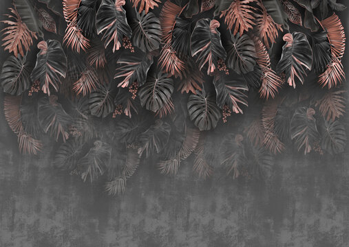 decorated plants gray wallpaper with golden rose leaves
