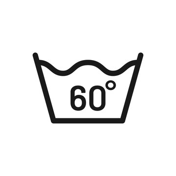 Wash at 60 degree icon. Water temperature 60C vector sign. Wash temperature 60. Laundry icon isolated on white background.