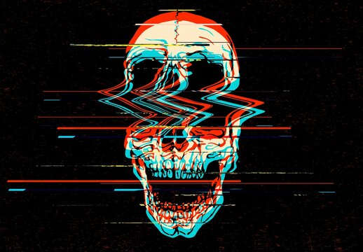 Digital glitch screaming skull illustration in the style of old TV and VHS and RGB mode damaged signal.