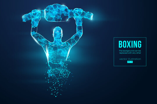 Abstract silhouette of a wireframe boxer fighter with boxing gloves on the blue background. Boxer is winner. Convenient organization of eps file. Vector illustration. Thanks for watching