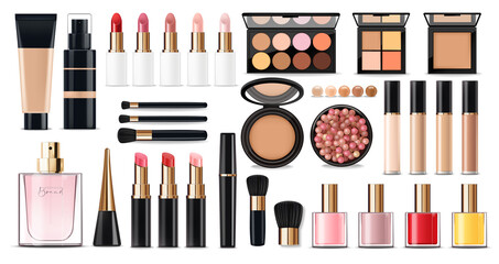 Realistic cosmetics make up set, big collection makeup product, powder, lipstick, mascara, makeup brush, eye shadow, concealer, nail polish, perfume and eyeliner, vector facial set