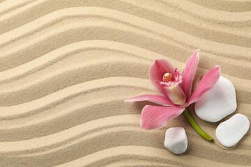 Photo sur Plexiglas Zen pierres a sable Orchid and stones on sand background, top view. Zen concept