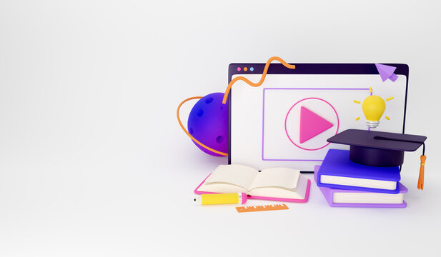 Concept for online education, home study, distance education and online courses. Illustration for web banners, hero images, printed materials. 3d render