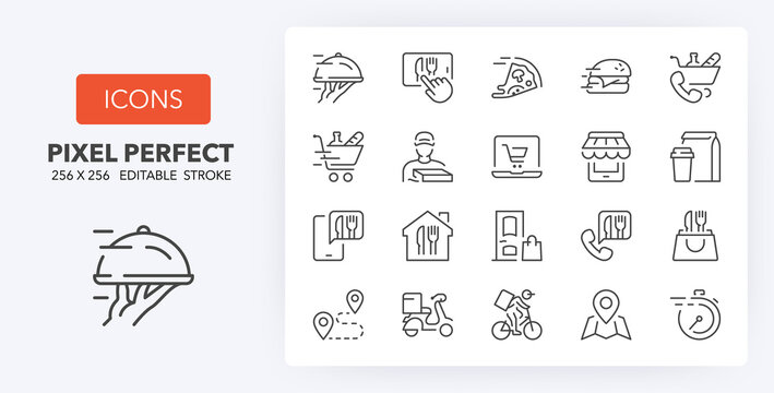 food delivery line icons 256 x 256
