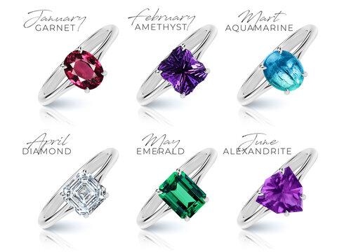 Birthstone rings collection set jewelry gem luxury garnet amethyst aquamarine diamond emerald alexandrite ruby peridot apphire opal citrine topaz