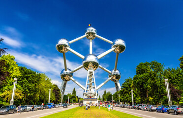 BRUSSELS, BELGIUM - JUNE 08: View of Atomium on June 08, 2014 in Brussels. Atomium is a 102 meter tall building, originally constructed for Expo '58.