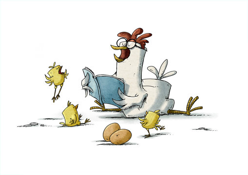 hen with glasses is reading a story to three yellow chicks who are very happy. isolated